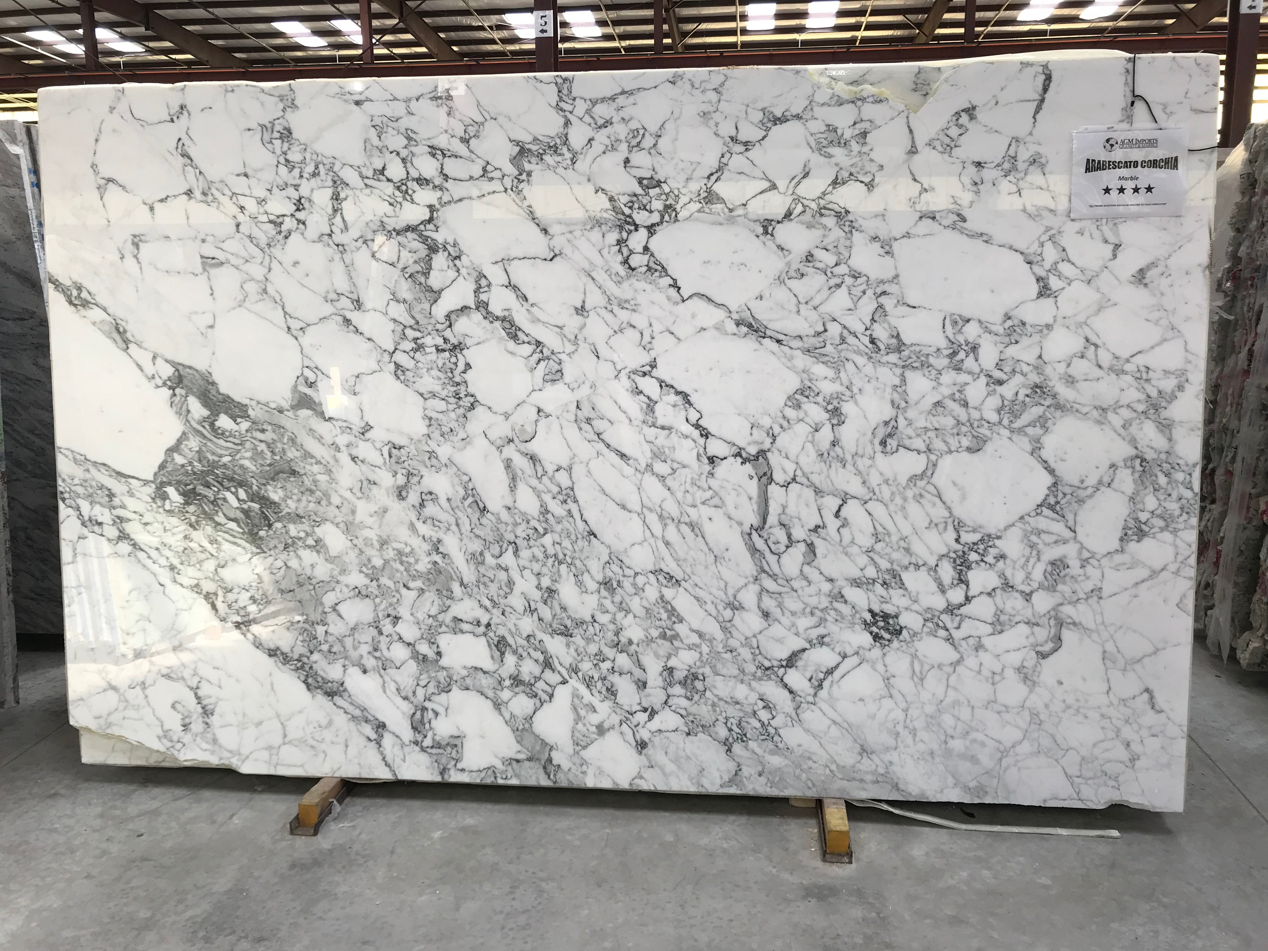"""Product Name: ARABESCATO CORCHIA 3CMLot #: ROSS207 Avg. size: 125"""" X 74"""""""