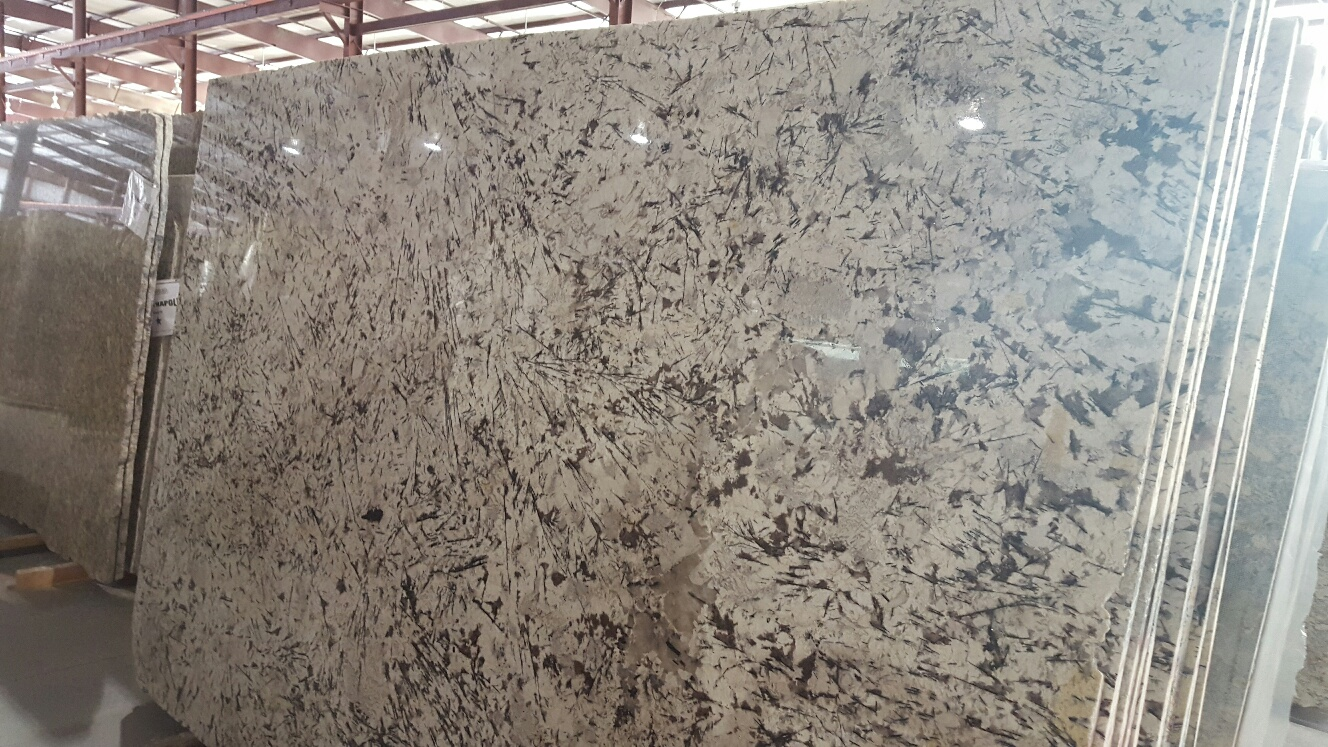 "Product Name: WHITE SPLASH 3CM   Lot #: PBA1372    Avg. size: 117"" X 78"""