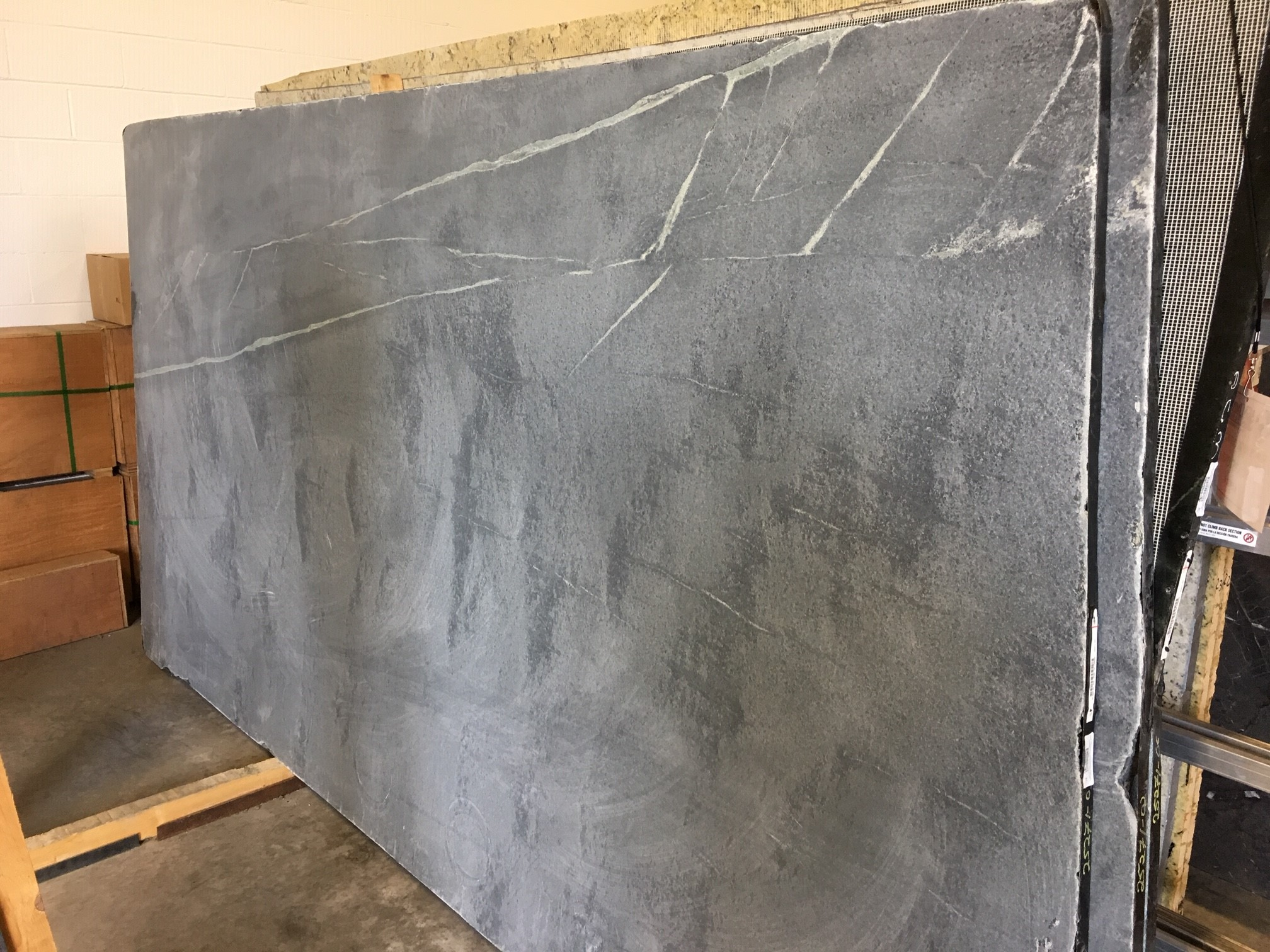 "Product Name: SOAPSTONE CHURCHILL 3CM   Lot #: POLY5271    Avg. size: 128.5"" X 68.5"""