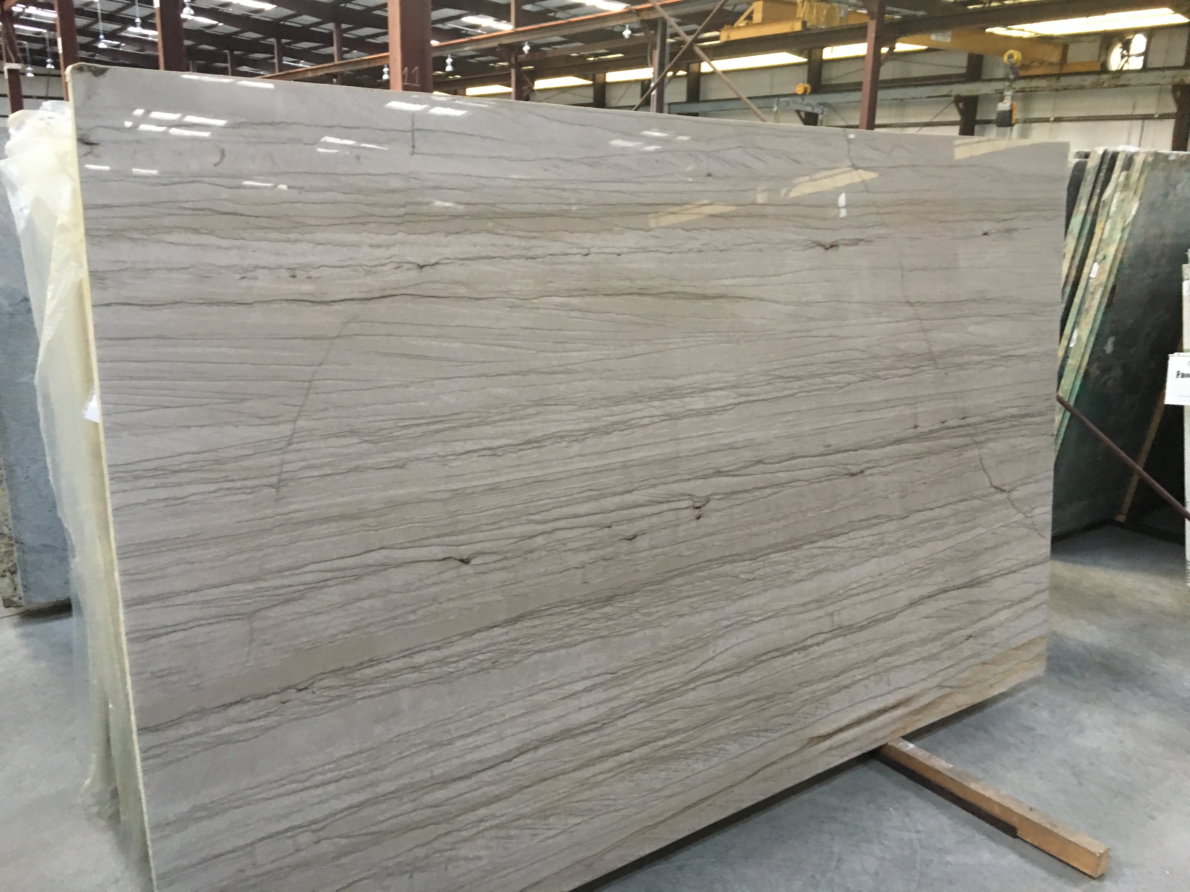 "Product Name: WHITE MUSTANG QUARTZITE 3CM   Lot #: GRNS4746    Avg. size: 126"" X 78"""