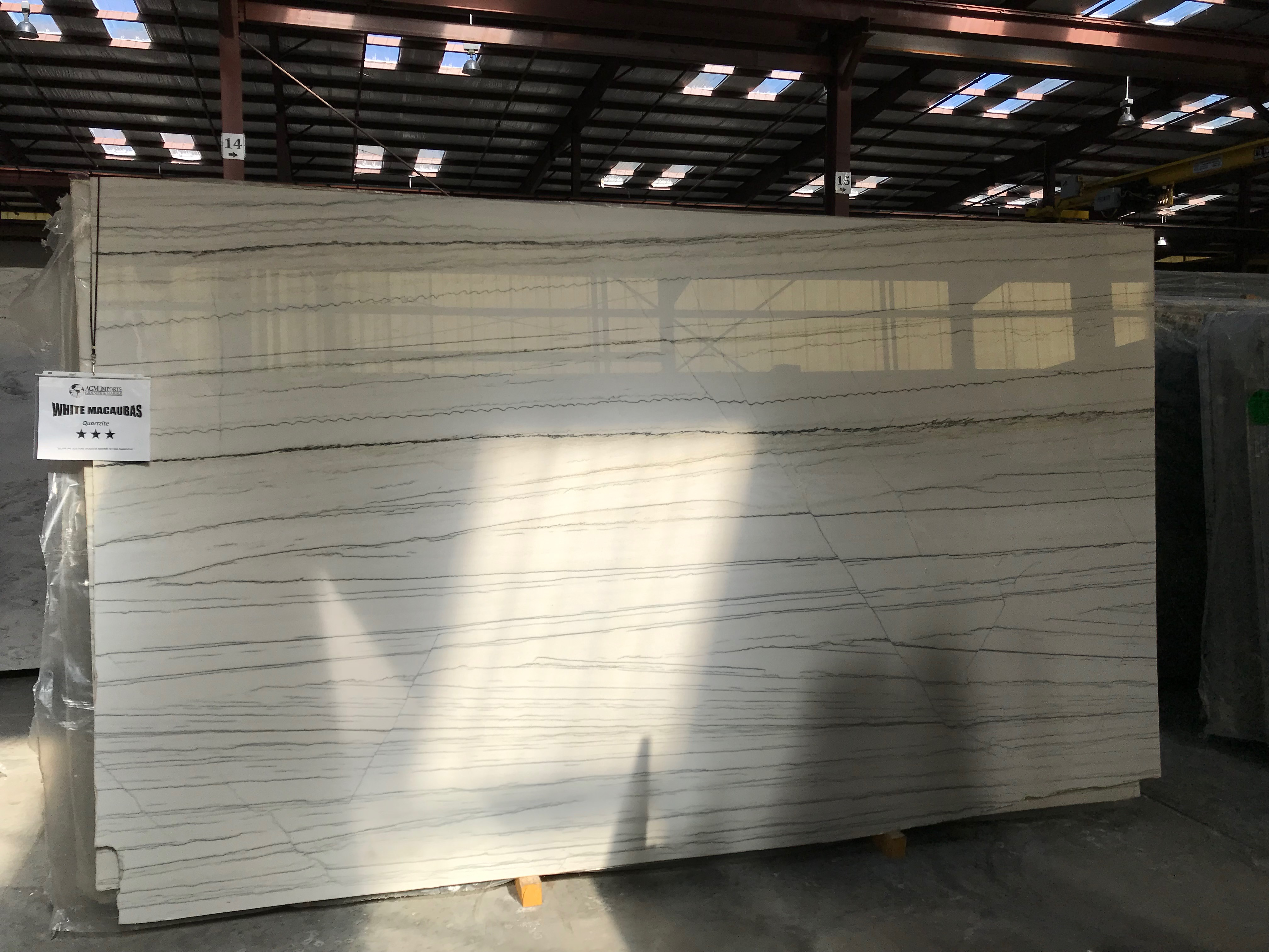 "Product Name: WHITE MACAUBAS 3CM   Lot #: TEST8225    Avg. size: 130"" X 74"""
