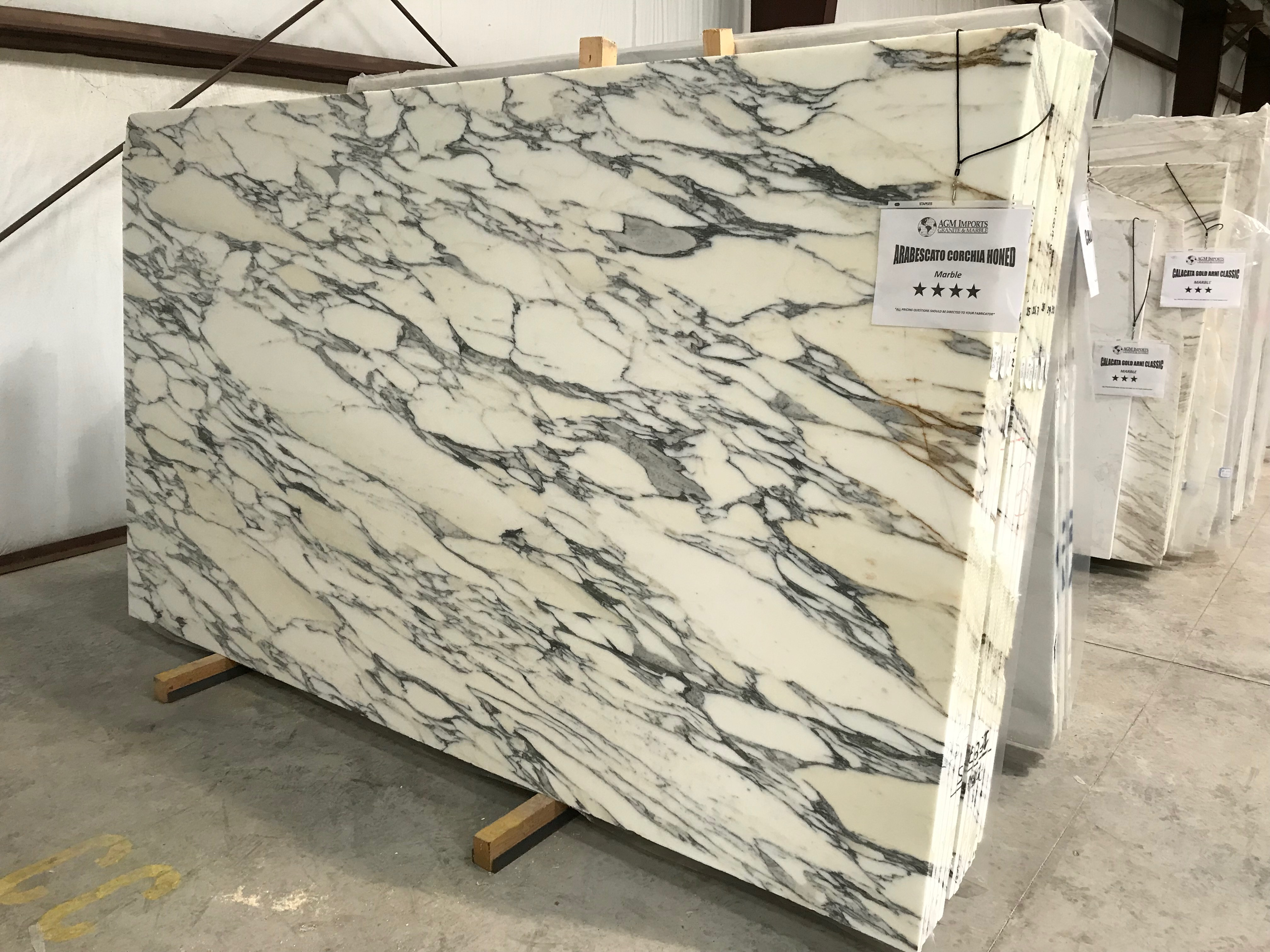 "Product Name: ARABESCATO CORCHIA HONED FF 3CM   Lot #: POD5875    Avg. size: 118"" X 69"""