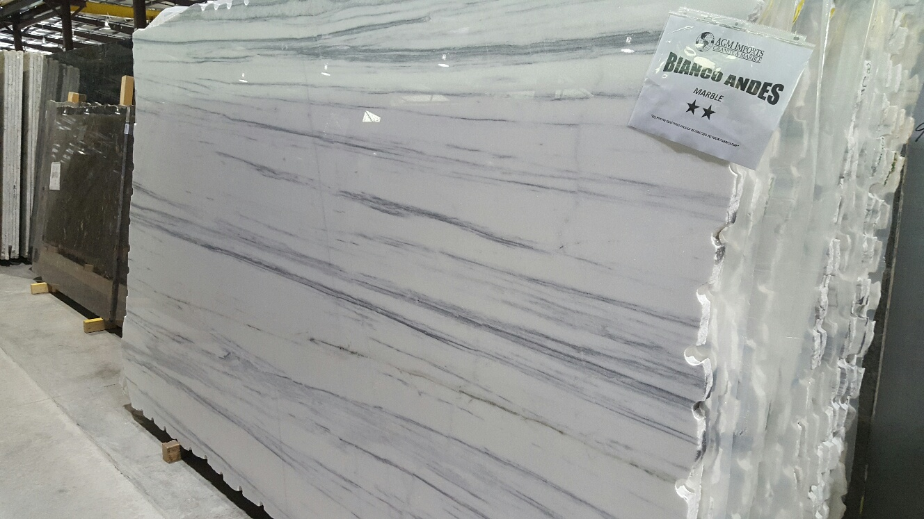 "Product Name: BIANCO ANDES 3CM   Lot #: POLI062    Avg. size: 112"" X 66.5"""