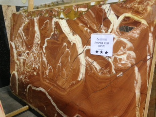 "Product Name: JASPER RED ONYX 2CM   Lot #: 112    Avg. size: 106"" X 59"""